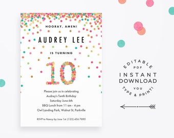 10th birthday etsy girls 10th birthday invitation instant download printable pdf 10 year old girls birthday invitations in mint teal pink and gold confetti stopboris Choice Image