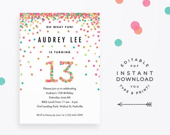 Girl 13th Birthday Invitation Instant Download Printable PDF 13 Year Old Party Invites In Mint Teal Pink And Gold Confetti
