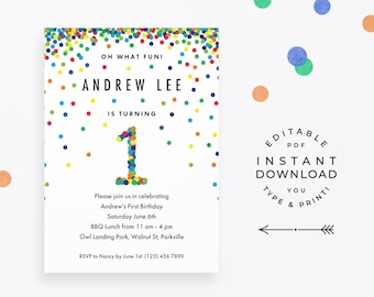 Confetti 1st Birthday Invitation Boy Editable Colorful Rainbow For First