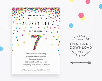 Rainbow 7th Birthday Party Invitation Instant Download Printable PDF Cute Confetti Invitations For 7 Year Old Girl Or Boy