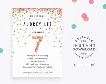 Girl 7th Birthday Invitation Instant Download Printable PDF 7 Year Old Party Invites In Mint Teal Pink And Gold Confetti