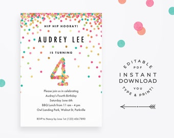 Girl 4th Birthday Invitation Instant Download Printable PDF 4 Year Old Party Invites In Mint Teal Pink And Gold Confetti