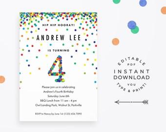 Confetti 4th Birthday Invitation Boy Editable Rainbow Colorful Invite For Boys Fourth Party