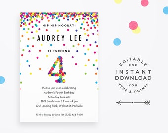 Rainbow 4th Birthday Invitation Printable Instant Download PDF Cute Confetti Invitations For Girl Or Boy Fourth Party