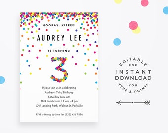 Rainbow 3rd Birthday Invitation Instant Download PDF Cute Confetti Invite For A 3 Year Old Boy Or Girl