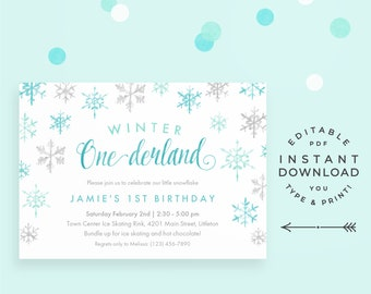 Winter Onederland Invitation Snowflake 1st Birthday Editable PDF Instant Download Printable Teal And Mint 1 Year Old Invite