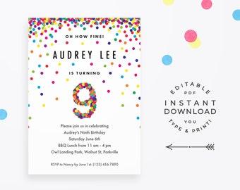 Confetti invitation etsy rainbow 9th birthday party invitation instant download printable pdf cute confetti birthday invitations for 9 year old girl or boy filmwisefo