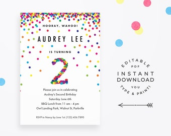 Rainbow 2nd Birthday Invitation Instant Download Printable PDF Cute Confetti Invites For 2 Year Old Boy Or Girl Party