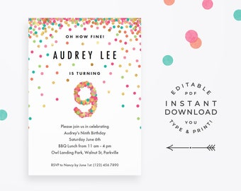 Girls 9th Birthday Invitation Instant Download Printable PDF 9 Year Old Girl Party Invites In Mint Teal Pink And Gold Confetti
