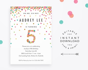 5th birthday invite etsy girls 5th birthday invitation instant download printable pdf 5 year old girl birthday party invites in mint teal pink and gold confetti filmwisefo