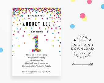 1st birthday invitations etsy rainbow 1st birthday invitation editable pdf instant download printable cute rainbow confetti invite for boy or girl first birthday party filmwisefo