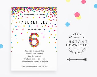 Rainbow 6th Birthday Party Invitation, Instant Download Printable PDF. Cute confetti birthday invitations for 6 year old girl or boy!