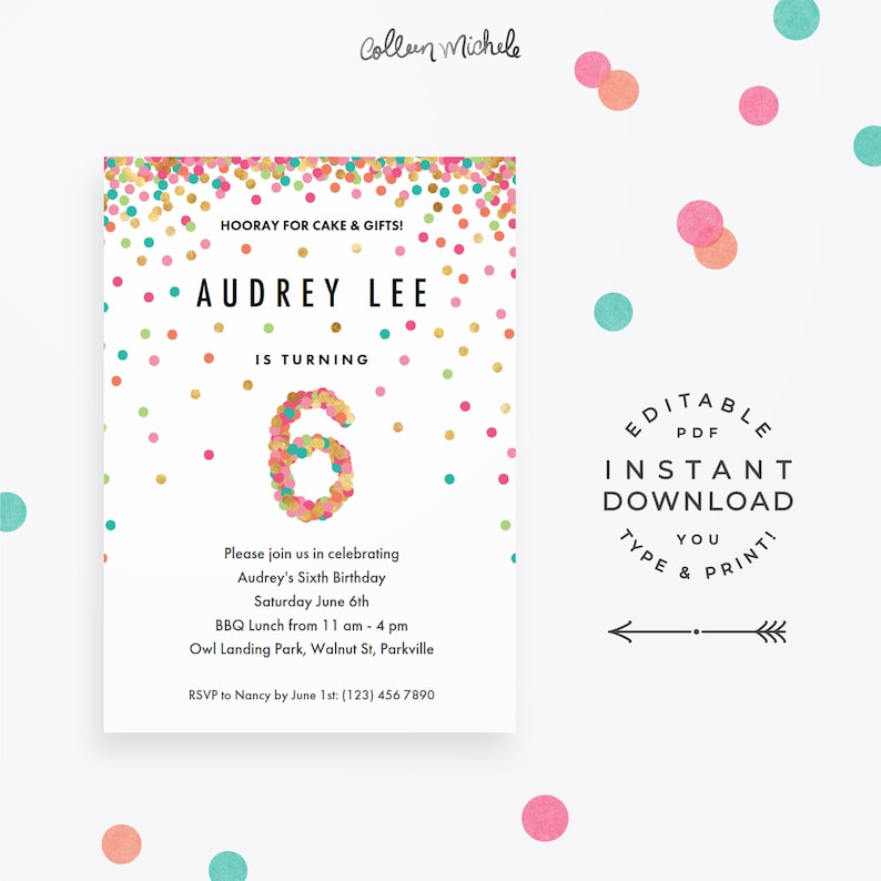 Girl 6th Birthday Invitation Instant Download Printable PDF