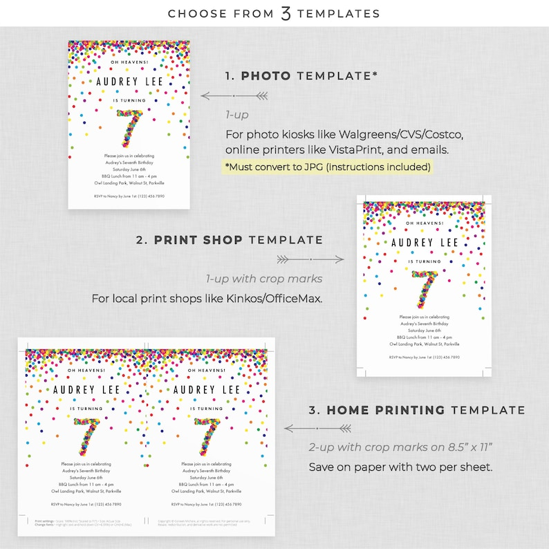 Rainbow 7th Birthday Party Invitation Instant Download