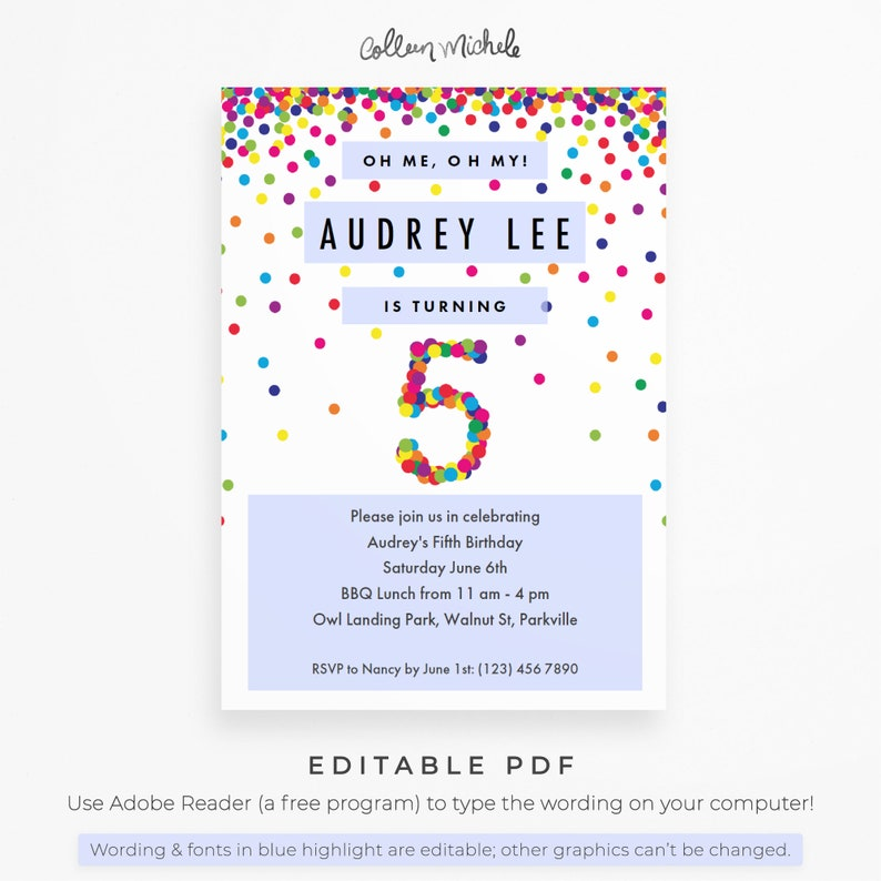 Rainbow 5th Birthday Party Invitation Instant Download