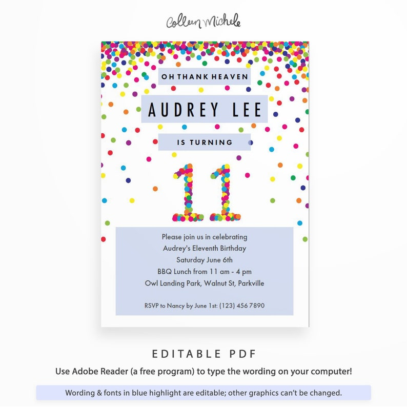 Rainbow 11th Birthday Party Invitation Instant Download Printable PDF Cute Confetti Invitations For 11 Year Old Girl Or Boy