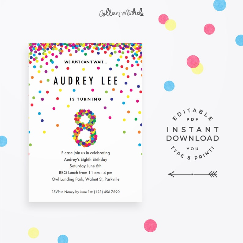 Rainbow 8th Birthday Party Invitation Instant Download