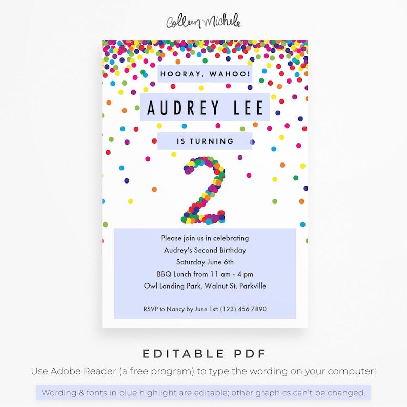 Rainbow 2nd Birthday Invitation Instant Download Printable