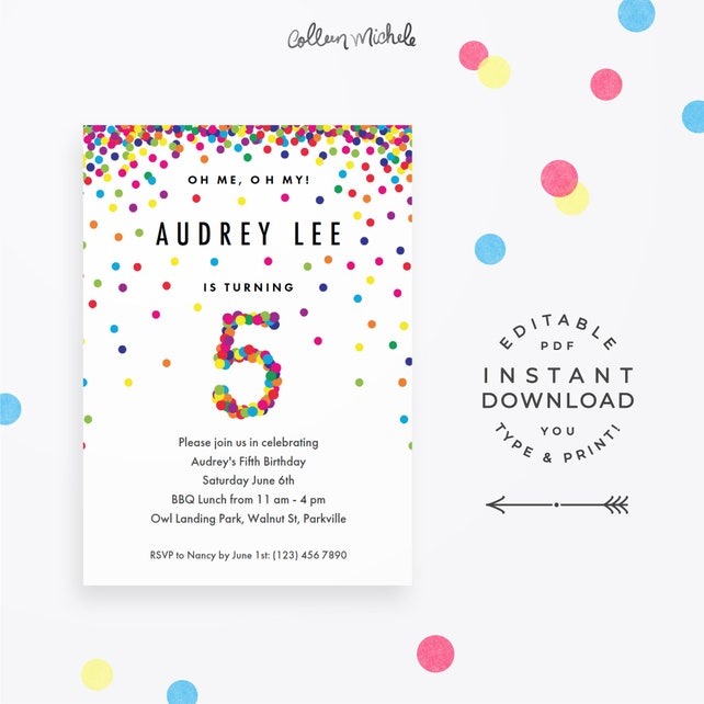 Rainbow 5th birthday party invitation instant download etsy image 0 filmwisefo