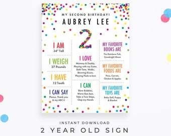 Rainbow Confetti 2 Year Old Sign. Editable 2nd birthday poster PDF, instant download. DIY the details for your own two-year-old!