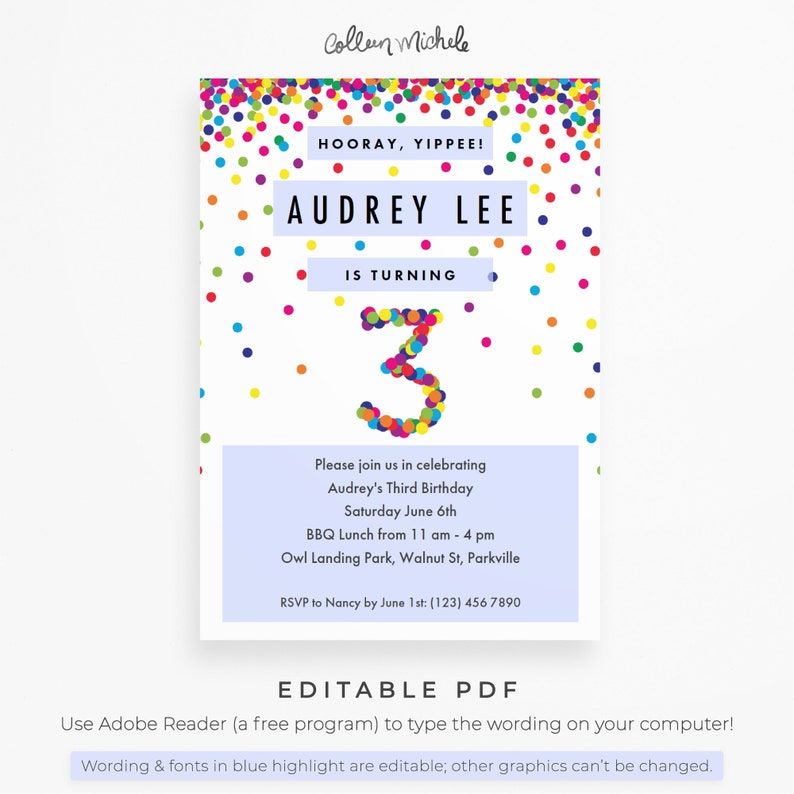 Rainbow 3rd Birthday Invitation Instant Download PDF Cute