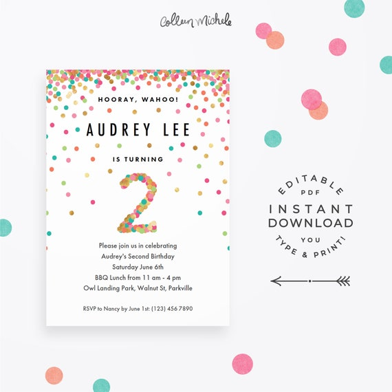 Girl 2nd Birthday Invitation Instant Download Printable PDF 2 Year Old Party Invites In Mint Teal Pink And Gold Confetti