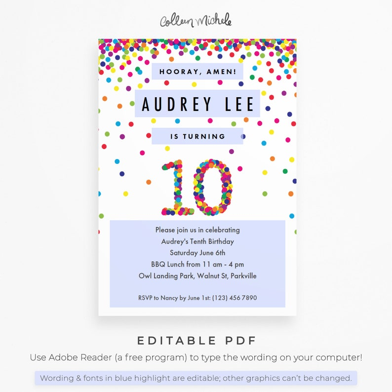 Rainbow 10th Birthday Party Invitation Instant Download