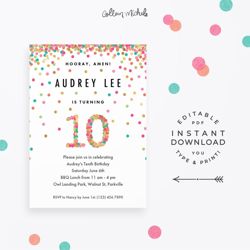 Girls 10th Birthday Invitation Instant Download Printable PDF 10 Year Old Invitations In Mint Teal Pink And Gold Confetti