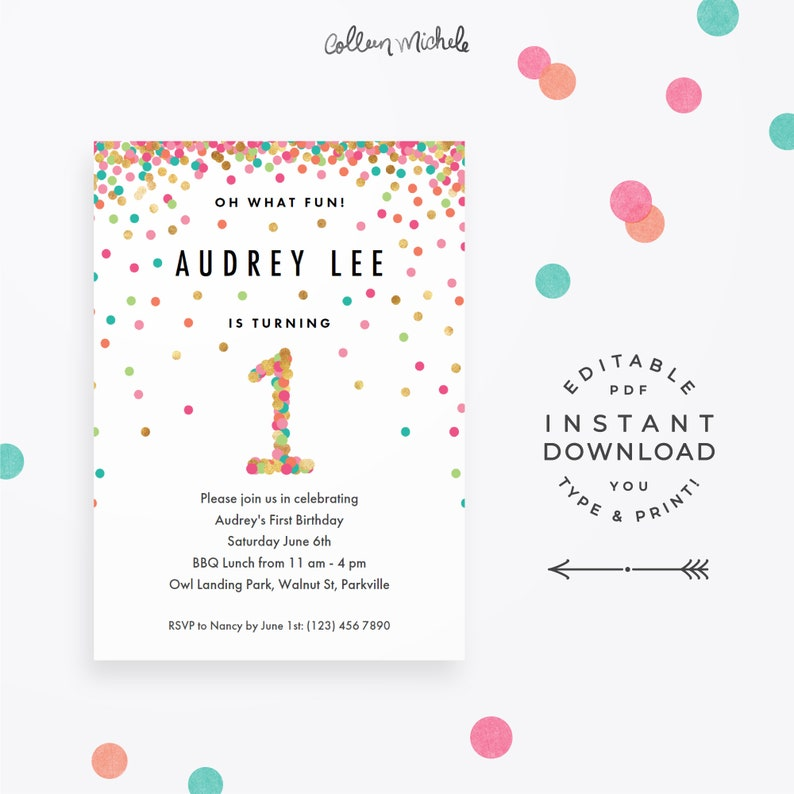 Girl 1st Birthday Invitation Instant Download Printable PDF