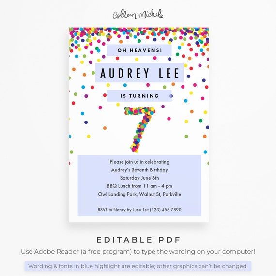 Rainbow 7th Birthday Party Invitation Instant Download Printable Pdf Cute Confetti Birthday Invitations For 7 Year Old Girl Or Boy
