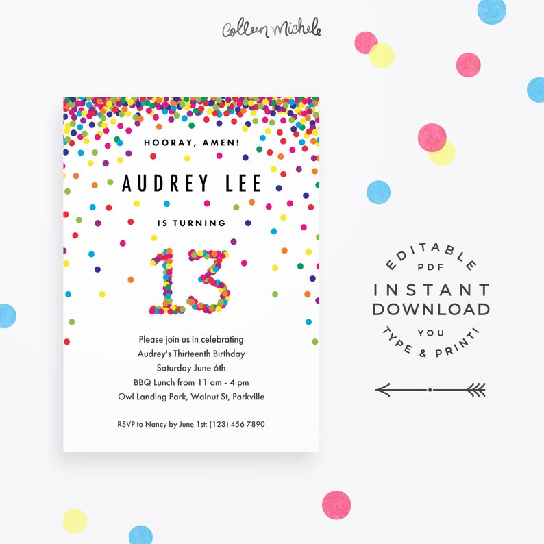 Rainbow 13th Birthday Party Invitation Instant Download
