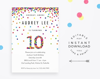 Rainbow 10th Birthday Party Invitation, Instant Download Printable PDF. Cute confetti birthday invitations for 10 year old girl or boy!