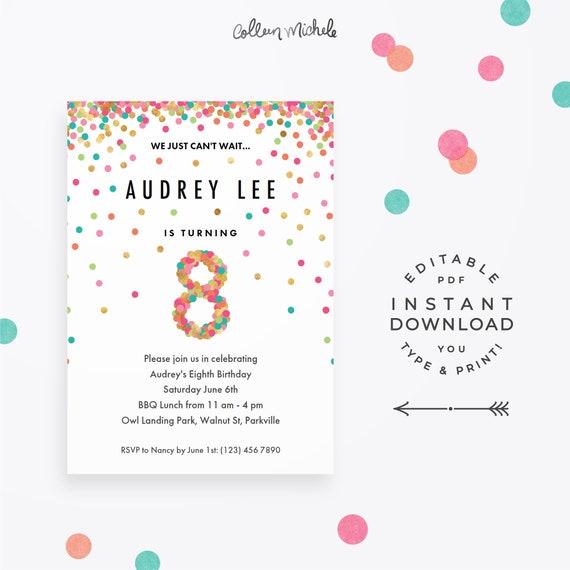 Girl 8th Birthday Invitation Instant Download Printable
