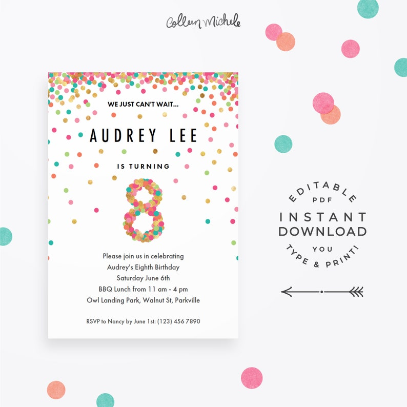 Girl 8th Birthday Invitation Instant Download Printable PDF