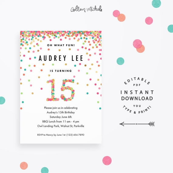 Girl 15th Birthday Invitation Instant Download Printable PDF