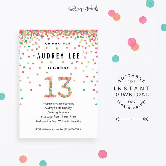 Girl 13th Birthday Invitation Instant Download Printable PDF