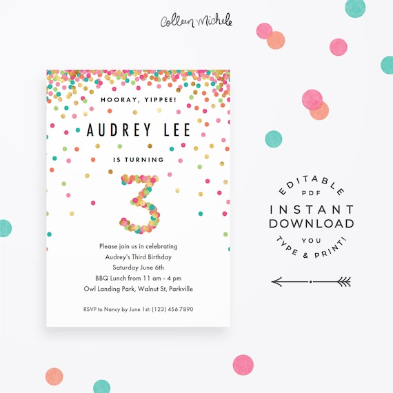 Girl 3rd Birthday Invitation Instant Download Printable PDF