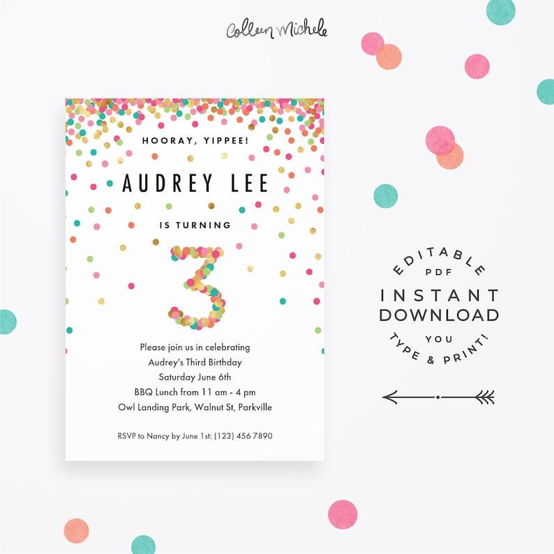 Girl 3rd Birthday Invitation Instant Download Printable PDF