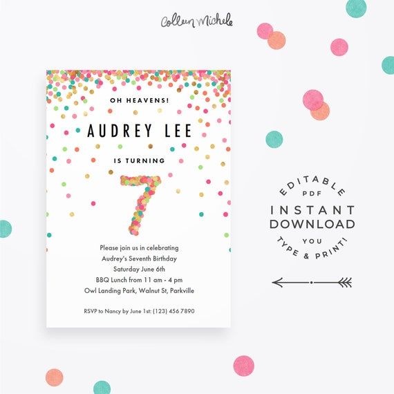 Girl 7th Birthday Invitation Instant Download Printable PDF