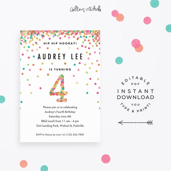 Girl 4th Birthday Invitation Instant Download Printable PDF