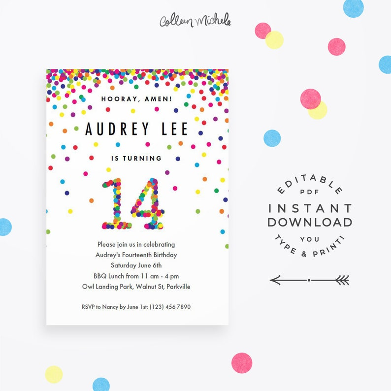 Rainbow 14th Birthday Party Invitation Instant Download Printable PDF Cute Confetti Invitations For 14 Year Old Girl Or Boy