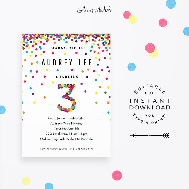 Rainbow 3rd Birthday Invitation Instant Download PDF Cute
