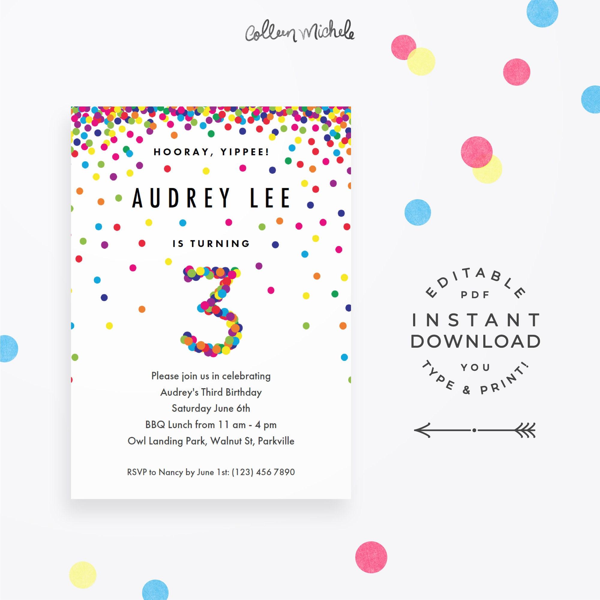 Rainbow 3rd Birthday Invitation Instant Download PDF. Cute   Etsy