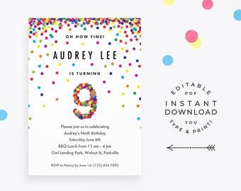Rainbow 9th Birthday Party Invitation, Instant Download Printable PDF. Cute confetti birthday invitations for 9 year old girl or boy!
