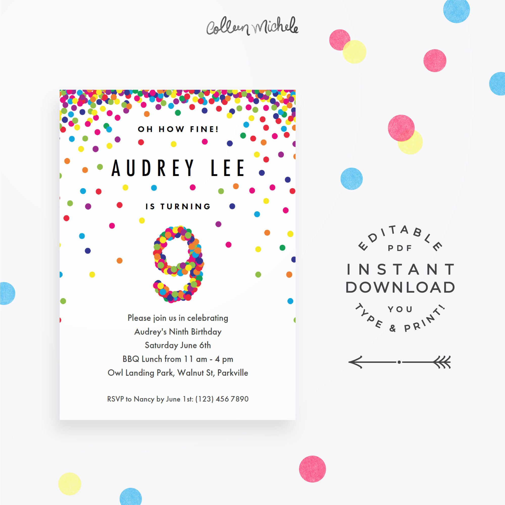 Rainbow 9th Birthday Party Invitation Instant Download