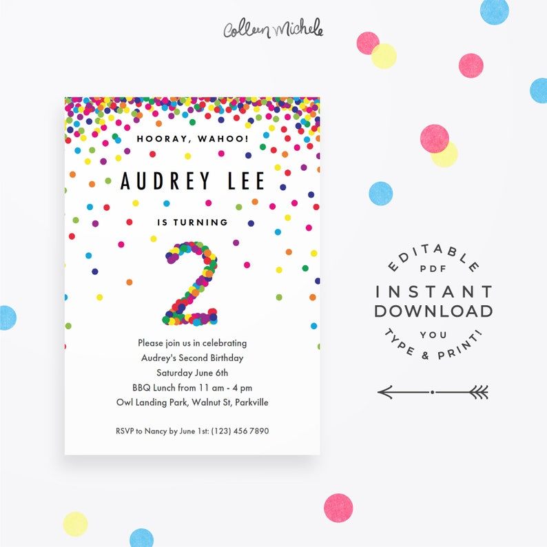 Rainbow 2nd Birthday Invitation Instant Download Printable