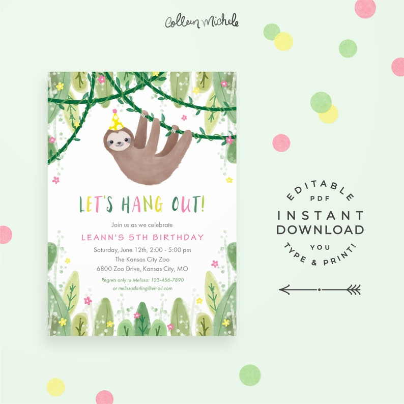 Sloth Birthday Party Invitation in Pink & Yellow Instant image 0