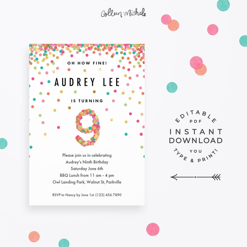 Girls 9th Birthday Invitation Instant Download Printable PDF