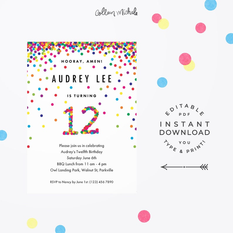 Rainbow 12th Birthday Party Invitation Instant Download Etsy