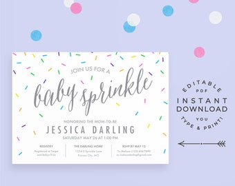 Baby Sprinkle Invitation Editable PDF, instant download printable. Cute rainbow confetti sprinkles. Girl, boy, or gender neutral.
